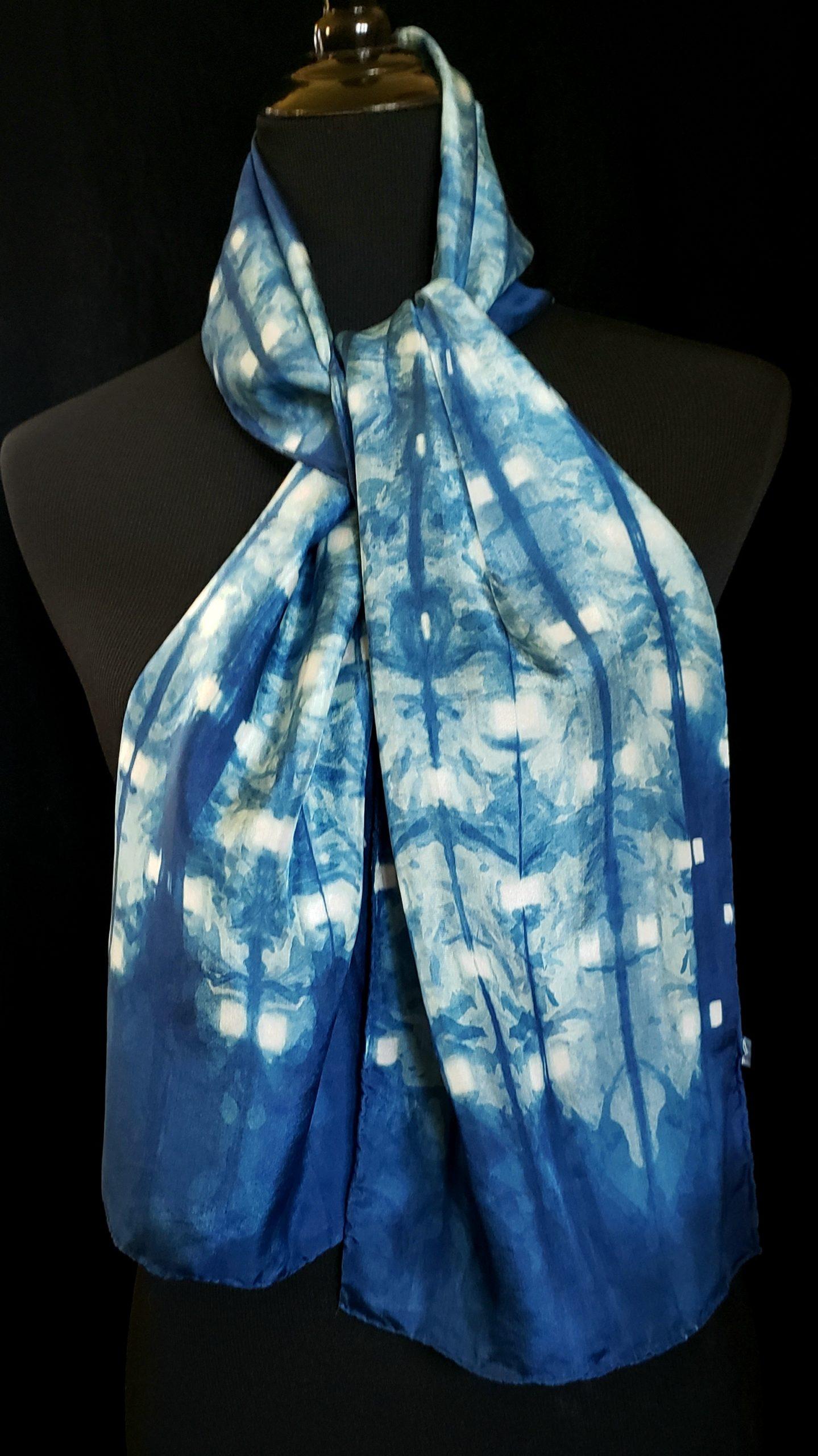 ndigIndigo Shibori dyed silk scarf